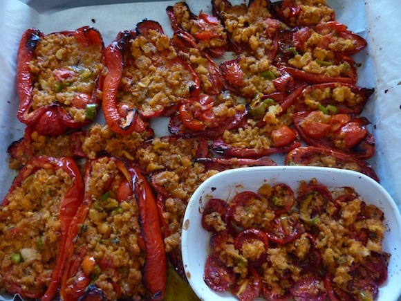 roasted bell peppers and tomatoes