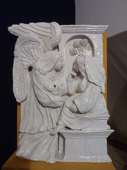 a ceramic della Robbia style Annunciation