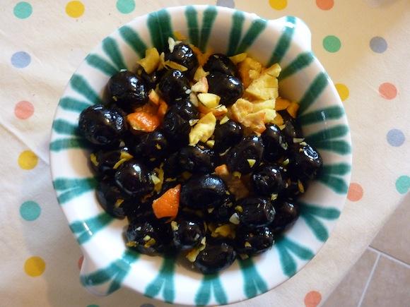 Umbrian winter olives with orange rind