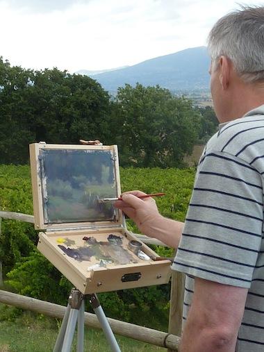 Trevor Newman painting and teaching at Genius Loci Umbria